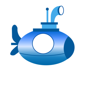 Blue, Black, Green, Yellow, Red, Pink, Green Submarine Illustrations