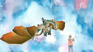 "Holographic AR project ""Dragon Feeding"" by Alice Zhou"